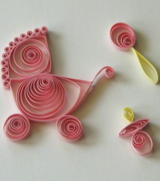 Quilled Baby Pram, Pacifier, & Rattle
