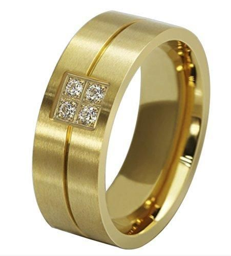 Jewelry 18K Gold Plated Titanium Steel Men's Fashion Rings CZ Frosting Golden