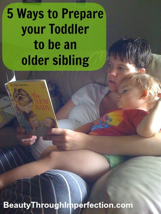 5 Ways to Prepare your Toddler to be an Older Sibling -- good ideas! Get Bud a doll to be extra gentle with, read books about the transition, build a bear with Mama's voice in it...