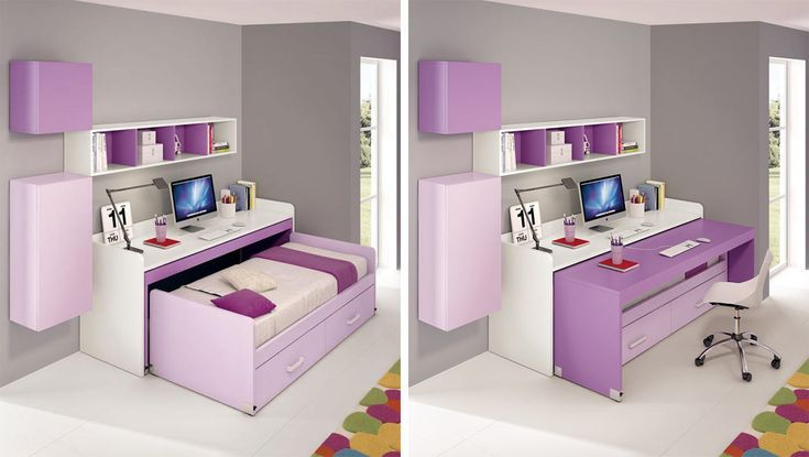 Ferrimobili, collection 613  An overhead desk with a sliding shelf and a bed with under bed storage fitted underneath.. In this 3 x 2 m room there's study and bedroom.