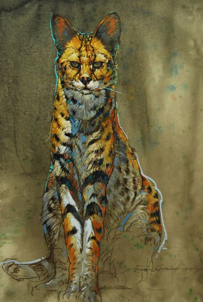 African Serval cat -pastel drawing. | Dan Chen - Nature ...