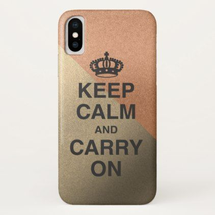 KEEP CALM AND CARRY ON / two tone glitter iPhone X Case - trendy gifts cool gift ideas customize