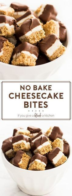No bake cheesecake bites is an easy mini dessert recipe. The graham cracker crust and cheesecake filling is topped off with a chocolate coating.   www.ifyougiveablondeakitchen.com