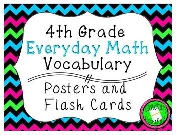 "This set covers the 160 vocabulary words from all eight units of the 4th grade Everyday Mathematics (version 4) curriculum. These are the vocabulary words listed at the start of each lesson. For each word there is a 8.5 x 11"" poster and a 4.25 x 5.5"" flash card (4 words per"