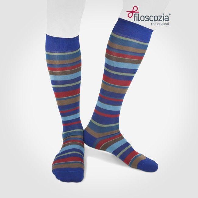 Calze Lunghe Righe Irregolari Colorate in Cotone Filo di Scozia Denim Blu Rosso da uomo - STILE12 - best socks online