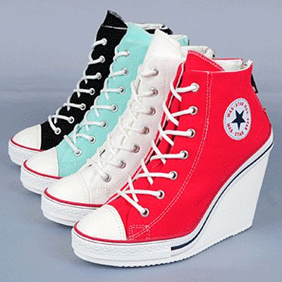 Womens Canvas Zip Wedge Sneakers Lace Up High Heel US 5 8 Ladies Ankle Boots | eBay