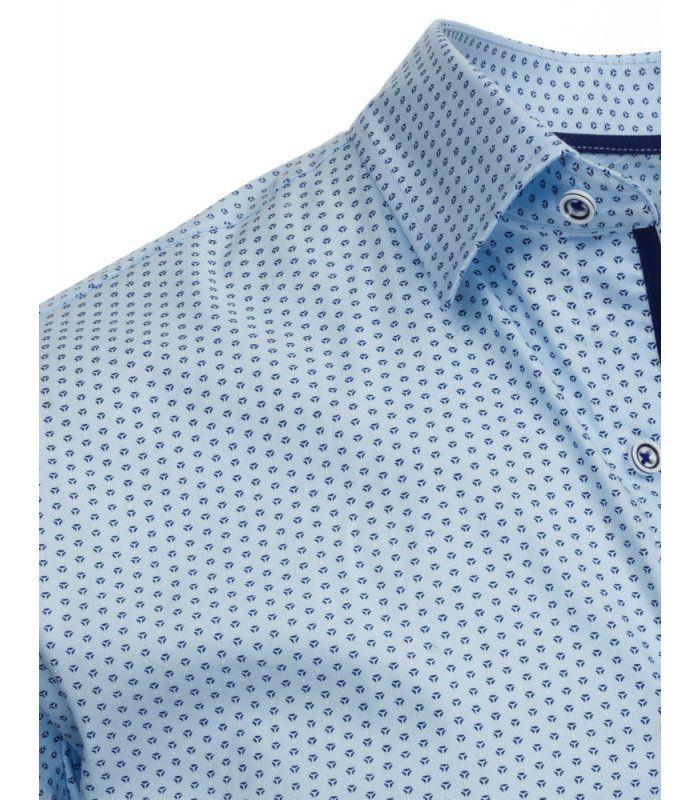 Blankytná vzorovaná elegantná košela s krátkymi rukávmi