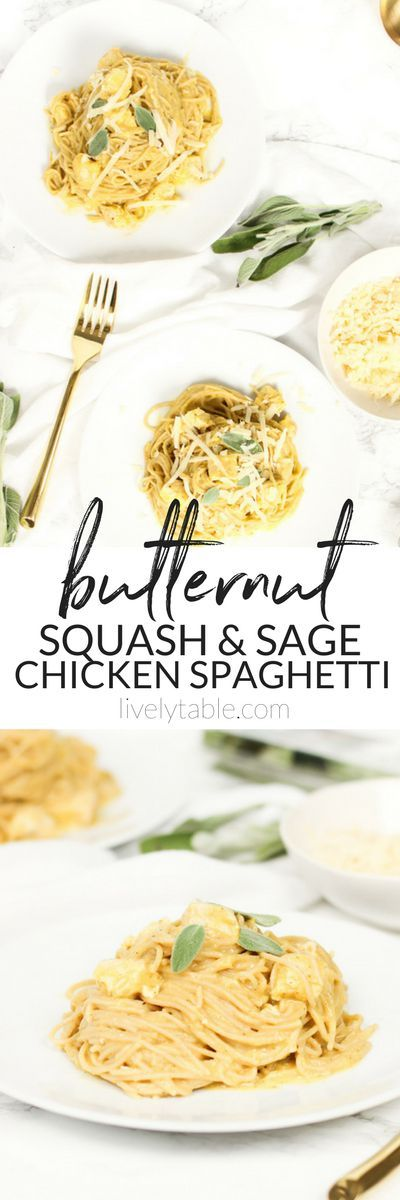 Chicken spaghetti gets a healthy fall makeover in this creamy Butternut Squash and Sage Chicken Spaghetti! (#glutenfree and #vegan options, #nutfree) Sponsored by Sprouts | #SharingforGood #chickenspaghetti #dinner #familymeals #fall | via livelytable.com