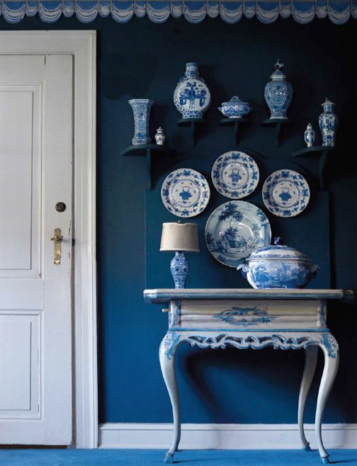 The Enchanted Home: Building a blue and white collection.....this is the exact color of my bedroom walls.