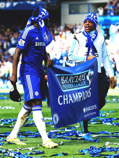 Kurt Zouma and Loic Remy celebrating becoming Barclays Premier League champions for the first time!