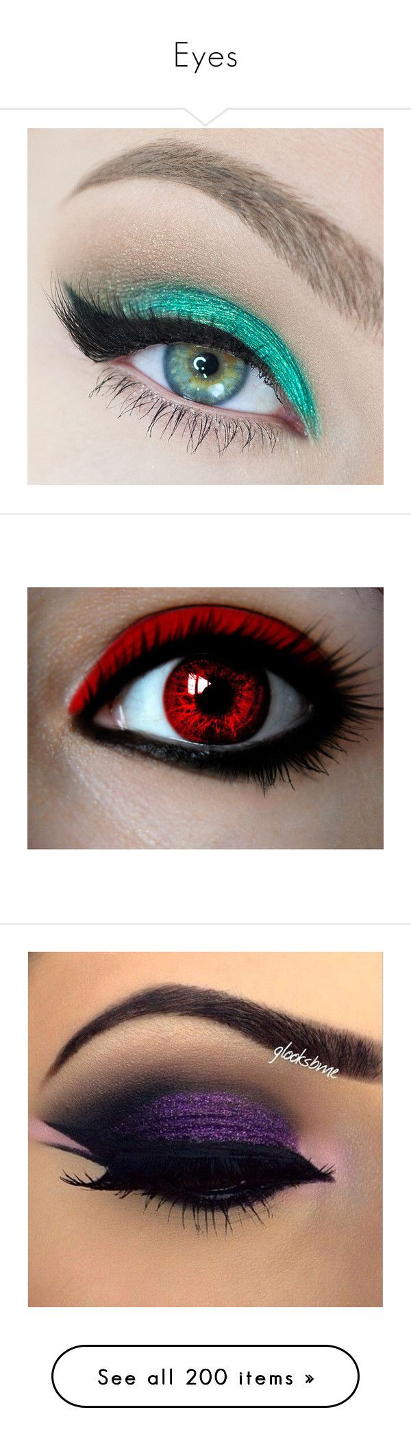 """""""Eyes"""" by emo-kyleigh ❤ liked on Polyvore featuring beauty products, makeup, eye makeup, eyeshadow, eyes, beauty, contacts, eye brow makeup, brow makeup and eyebrow cosmetics"""