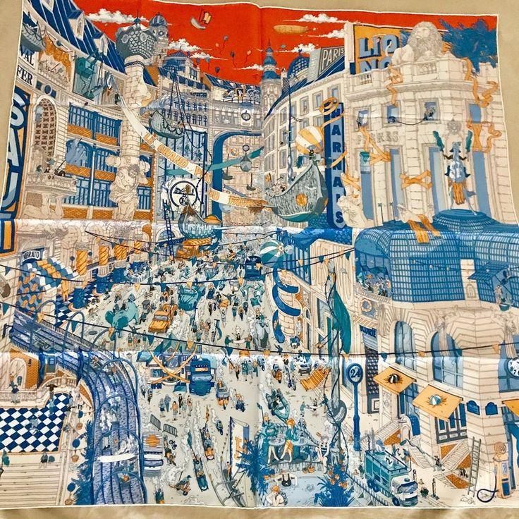 NWT Hermes 90cm silk scarf Carre Le Grand Prix Au Faubourg    eBay