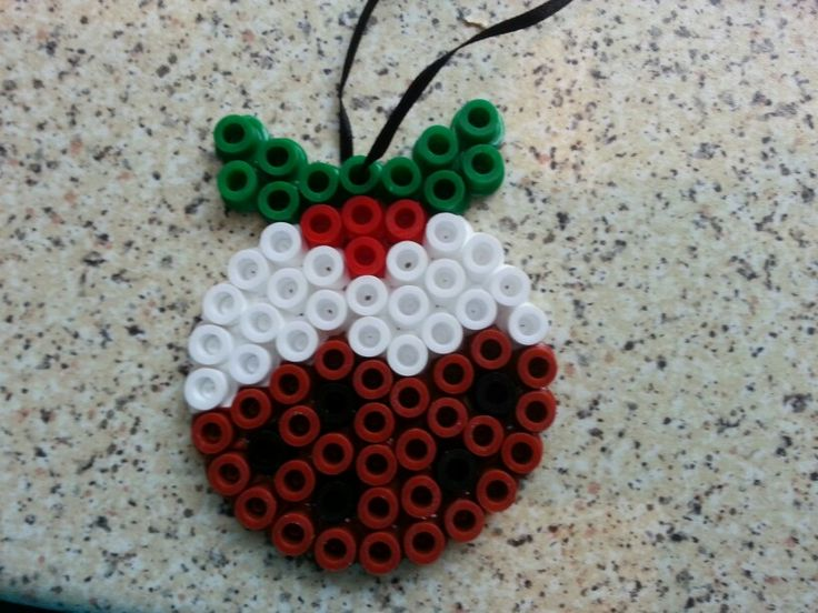 Christmas pudding giant hama beads Christmas Tree decoration!  Great idea for kids to make!