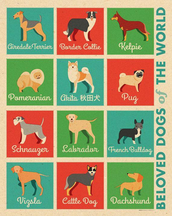 Beloved Dogs of The World retro illustrated print by BarockyChocky