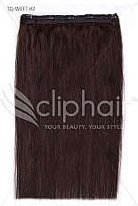 18 Inch Quad Wefted Remy Clip in Human Hair Extensions – Darkest Brown (#2)