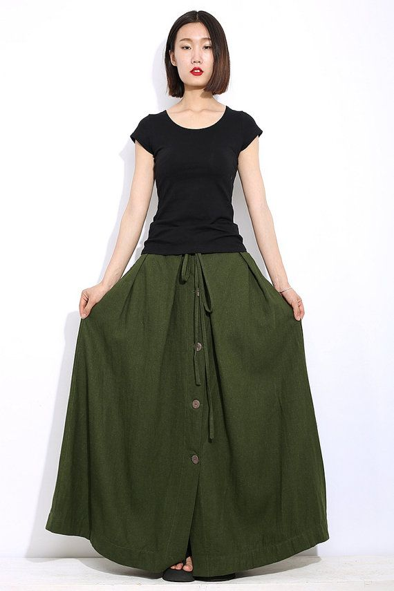 Green linen skirt maxi skirt women long skirt C324 por YL1dress