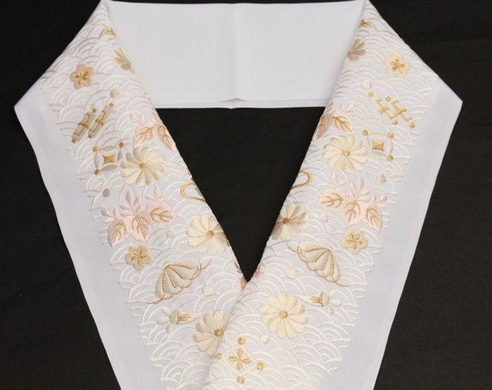 刺繍半襟 半衿 白 振袖用 結婚式 訪問着用 「青海波宝尽くし模様(ピンク・ベージュ系刺繍)」 婚礼衣装用 洗える ポリエステル 「衿秀」 ししゅう半衿
