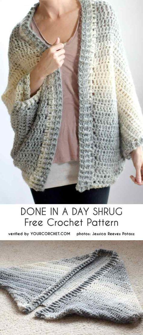 Feito em um dia Shrug Free Crochet Pattern