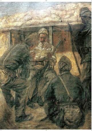 Hikmet Onat: Siperde Mektup Okuyanlar. 150×124 cm. Istanbul resim ve heykel muzesi