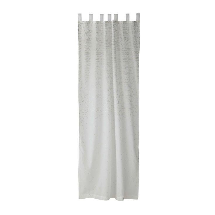 Rideau à passants motifs dorés en coton blanc 105 x 250 cm SHADE