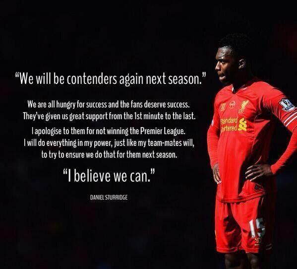 """We will be contenders again next season."" - Daniel Sturridge #LFC #Believe"