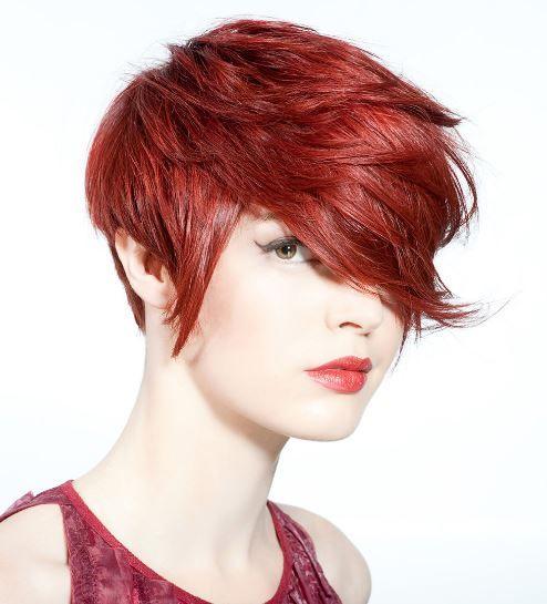 Ateş kızılı kısa saç modası 2017