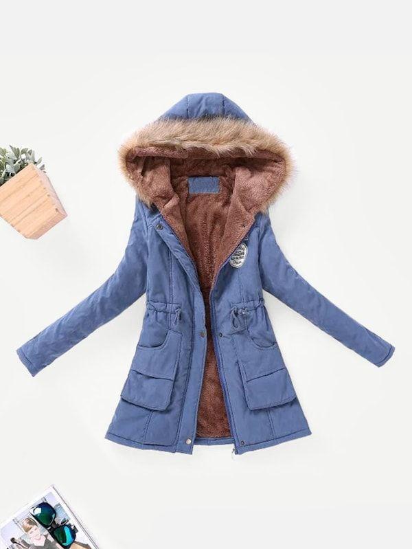Contrast Lined Faux Fur Hood Parka Coat   Chaquetas parka