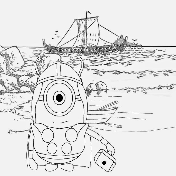 happy minion coloring pages for free north sea longboat nordic viking minions illustration to color
