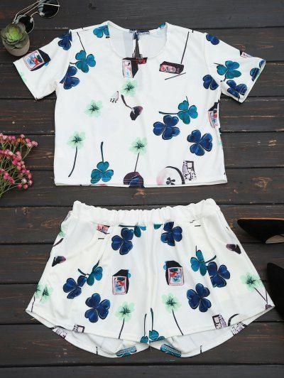SHARE & Get it FREE | Printed Top With High Waist Shorts Set - White SFor Fashion Lovers only:80,000+ Items • New Arrivals Daily Join Zaful: Get YOUR $50 NOW!