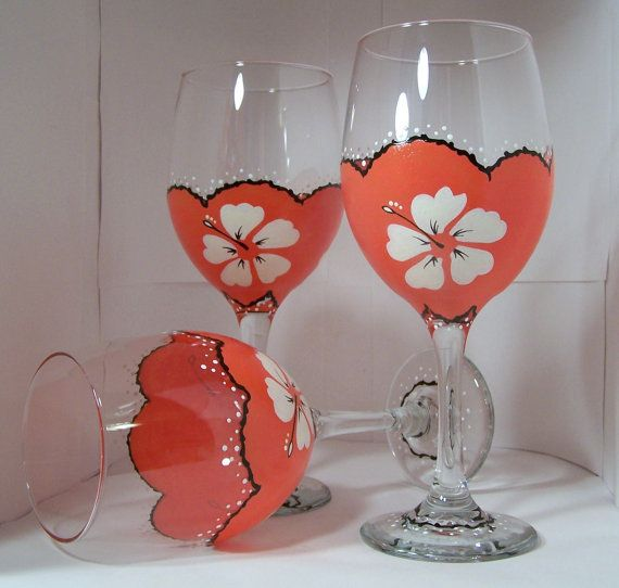Tropical Wine Glass/Tropical/Wine Glass/Orange/Home by GranArt