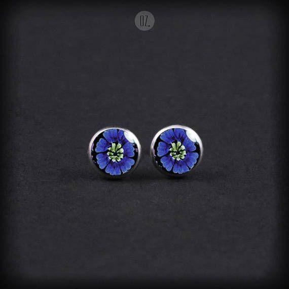 Studs Dark Blue Flowers Mini handmade folk jewelry from