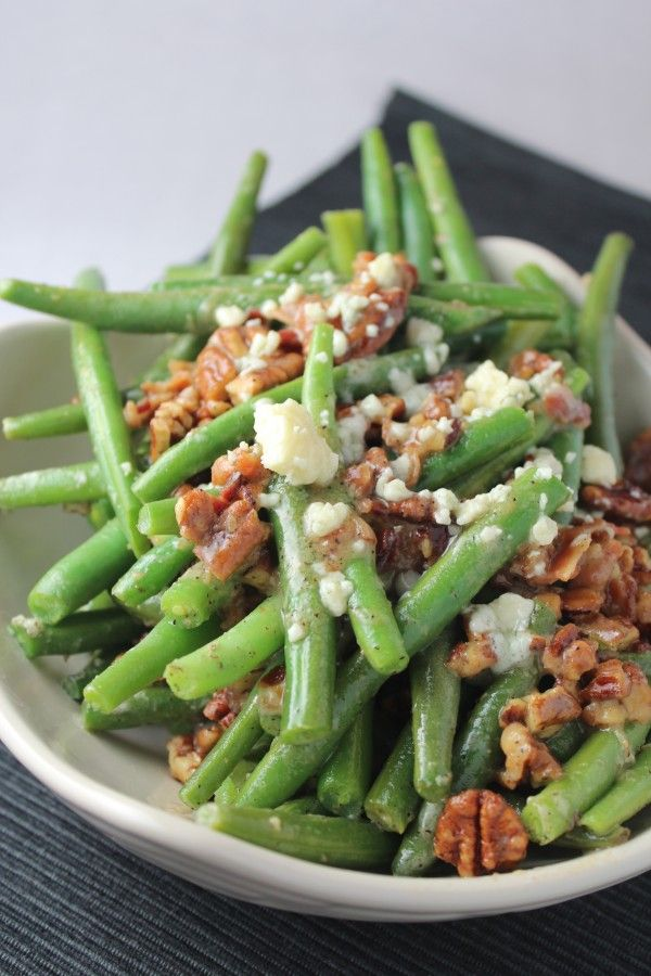 Pecan, Bacon, and Blue Cheese Green Beans