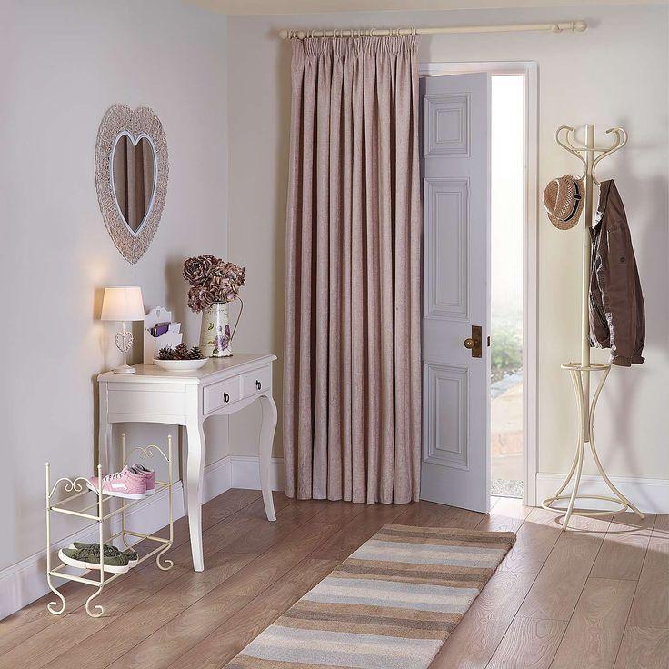 Cream Chenille Thermal Pencil Pleat Door Curtain   Dunelm