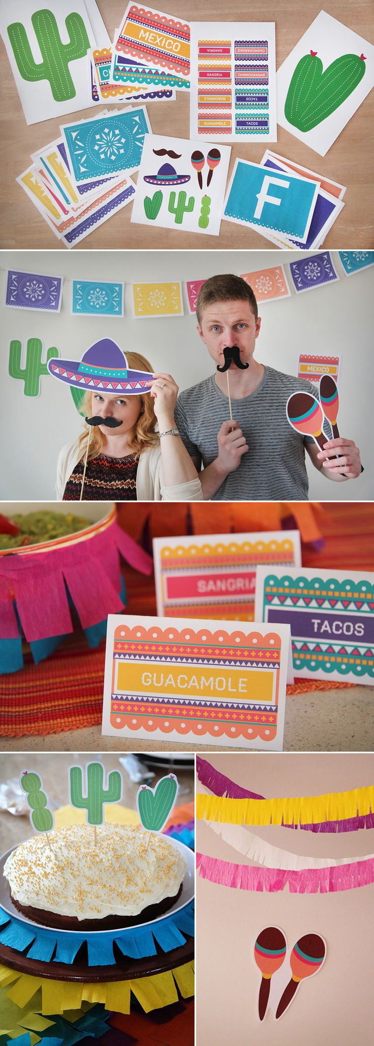 The ultimate #Mexican or Cinco de Mayo party decoration kit - DIY printable and includes  Papel Picardo, food and drink labels, photo booth props, cake toppers, and signage! #photobooth #cincodemayo