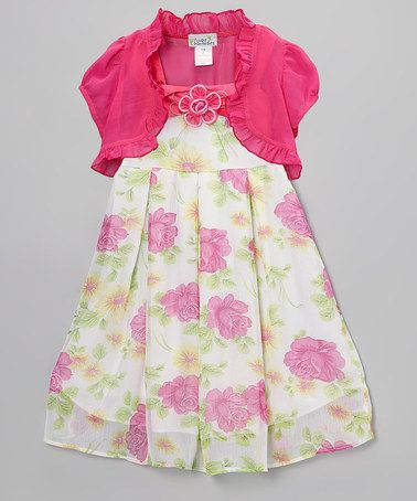 Take a look at this Fuchsia & Yellow Floral Dress & Pink Shrug  - Toddler & Girls by Littoe Potatoes on #zulily today!
