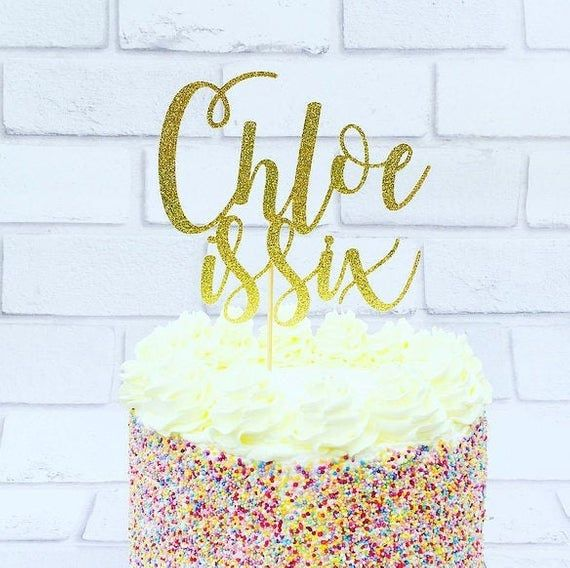 Personalised Birthday Glitter Card Cake Topper Any Name and Age