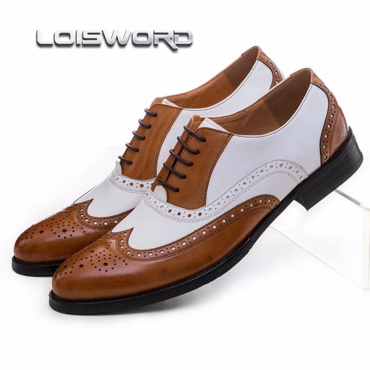 Pas cher LOISWORD Grande taille EUR45 noir blanc/brun blanc hommes chaussures en cuir véritable robe chaussures oxfords formelles chaussures de mariage, Acheter Chaussures de soirée de qualité directement des fournisseurs de Chine:LOISWORD Grande taille EUR45 noir blanc/brun blanc hommes chaussures en cuir véritable robe chaussures oxfords formelles chaussures de mariage