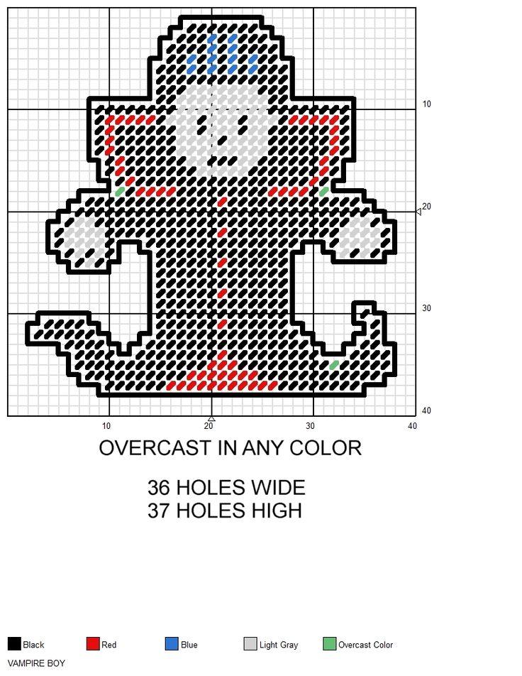 Vampire Boy Halloween plastic canvas pattern