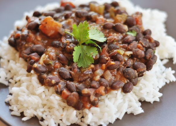 Black Beans and Rice (we thought this was too bland.  Served it with plain brown rice.  She suggests serving it with her Cilantro Lime Rice)