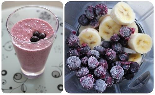 Smoothie de banana com blueberry!
