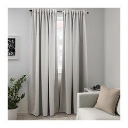 IKEA - MAJGULL, Blackout curtains, 1 pair, , The room darkening curtains have a special coating that blocks light from shining through.Effective at keeping out both drafts in the winter and heat in the summer.The curtains can be used on a curtain rod or a curtain track.The heading tape makes it easy for you to create pleats using RIKTIG curtain hooks.You can hang the curtains on a curtain rod through the hidden tabs or with rings and hooks.