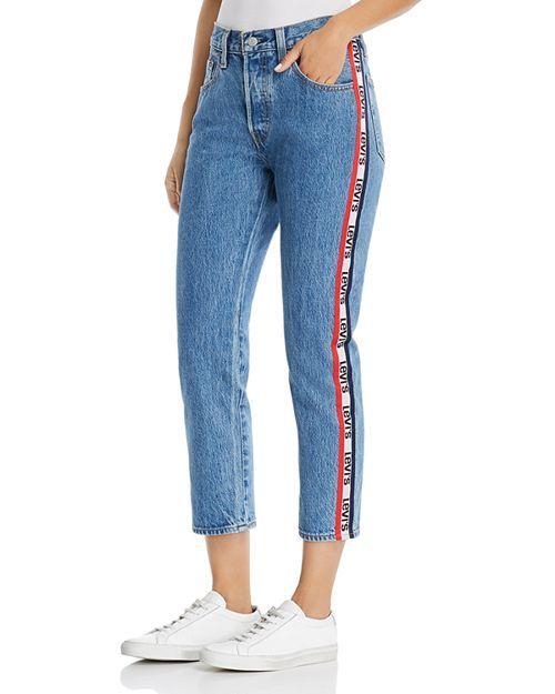 10b1fe14 Levi's 501 Logo-Stripe Crop Straight Jeans in Spectator Sport in ...