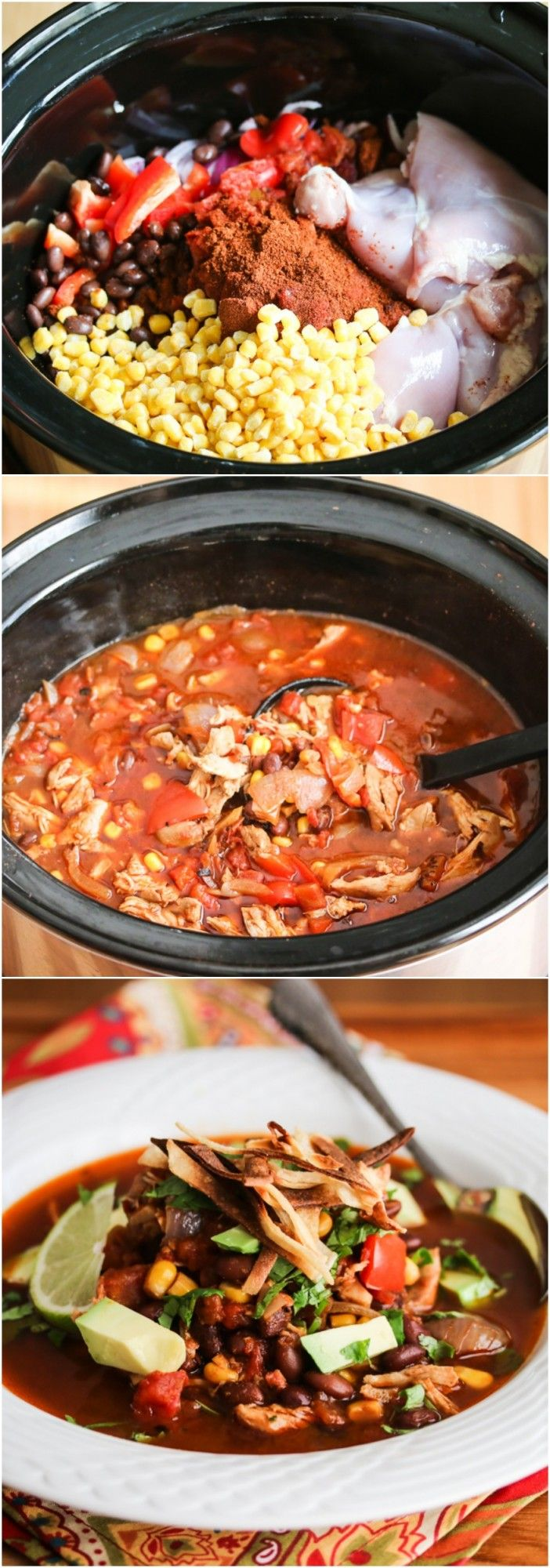 Slow Cooker Chicken Chili Tortilla Soup - this is so easy to make, perfect for a cold winter day.