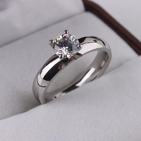 Argent CZ Zircon anneaux En Acier Inoxydable 316L bague pour les femmes bijoux en gros bijoux