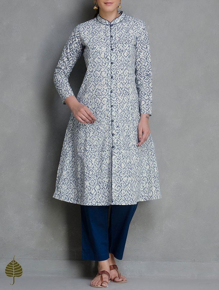 Buy Indigo White Kalamkari Printed Button Down Cotton Kurta by Jaypore Apparel Tunics & Kurtas Qalamkari Block Jackets Pants More in Online at Jaypore.com