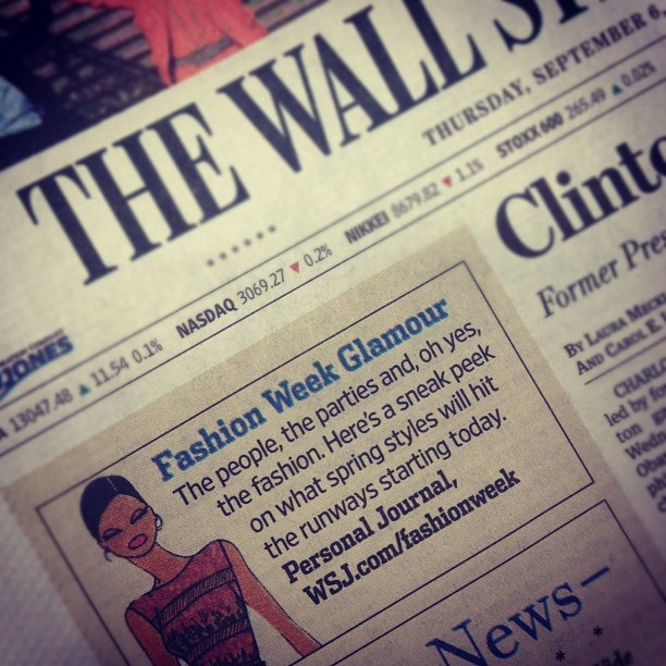 #NYFW on the cover of the WSJ.