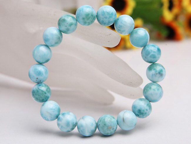 Genuine Larimar Bracelet 10MM A Grade, Natural Larimar Round Beads 10MM, Genuine Larimar Jewelry,  Natural Larimar Gemstone Beads by gembeadswholesale on Etsy https://www.etsy.com/listing/174472734/genuine-larimar-bracelet-10mm-a-grade