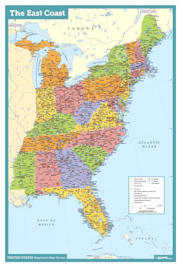 Road Map Of Eastern Us And Canada Related image | East coast map, East coast usa, Usa road map