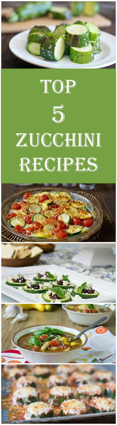 The 5 best zucchini recipes ever: Zucchini Parmesan, Zucchini Gratin, Summer Minestrone with Zucchini, Grilled Whole Zucchini and Zucchini Feta Bites.  #top5zucchinirecipes #healthyrecipes #veggierecipes #cookthestory