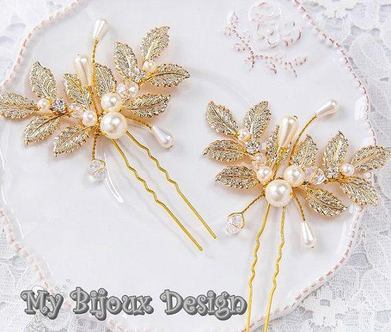 Set of 2 Leaf Wedding Pins  Gold Bridal Hair by MyBijouxDesign